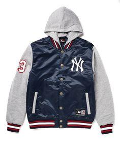 the best attitude ae6ec 332ec Majestic Athletic NY Yankees Varsity Jacket with Hood Motorcycle Jacket,  Athletic, Menswear, Hoodies