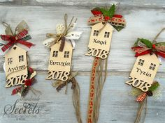 Picture of Γούρια 2018 σπιτάκια Crafts To Do, Christmas Crafts, Crafts For Kids, Christmas Mood, Christmas Wreaths, Christmas Ornaments, Handmade Decorations, Xmas Decorations, Art For Kids