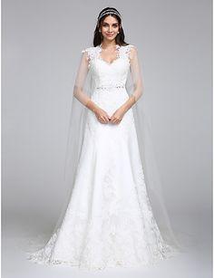 Lanting Bride® Trapèze Robe de Mariage Traîne Watteau Reine Anne Tulle avec Appliques / Perlage / Dentelle de 4716214 2016 à €166.59