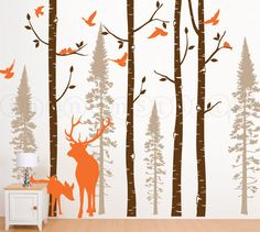 Birch and Fir Tree Wall Decal with Birds and Elk von InAnInstantArt