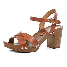 cafd5375ad8 Brown leather wooden heel clog sandals