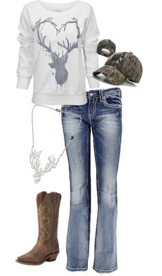 deer heart shirt with jeans and boots