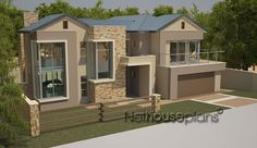 South African house plans for sale online. Buy contemporary 4 bedroom double storey, modern 5 bedroom floor plans, 3 bedroom house plans with photos. 2 Bedroom House Design, 4 Bedroom House Plans, Bungalow House Design, Dream House Plans, Modern Small House Design, Contemporary House Plans, Modern House Plans, Modern Contemporary, Brick House Designs