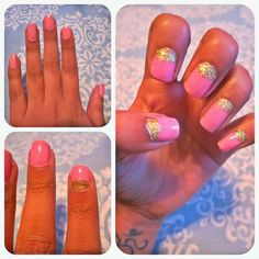Mani Monday:: Barbie-fied barbie nails pink and glitter nails half moon nails cute nails pink nails girly nail designs