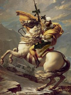 """Napoleon Boneparte had no time for Talibanwarlords and chose to lead the charge during the early Afghaninvasion. Feared bythe Mujahideen as a tight wearing pipe hitter, Napoleon made his mark in history as one of the most feared """"Horse Soldiers"""" of Special Operations.  Measures 18 x 24"""" Made in the USA"""