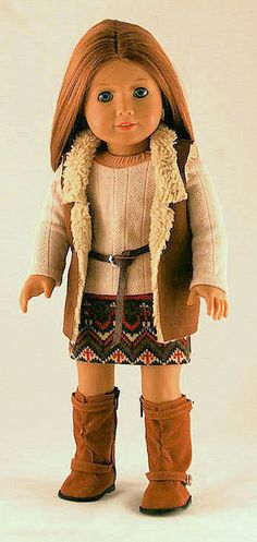 American Girl Doll Clothes - Sherpa Vest, Southwest Skirt, Sweater Tee, and Leather Belt. $32.00, via Etsy.