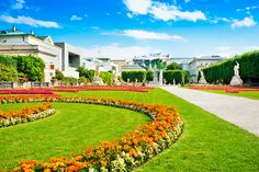 Picture of Famous Mirabell Gardens with Fortress Hohensalzburg in the background in Salzburg, Austria stock photo, images and stock photography. Salzburg Austria, Stock Photos, Mansions, House Styles, Places, Pictures, Photography, Gardens, Inspiration