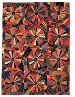"""Crazy Quilt with Dresden Plate variation  Anna Porter and Opal Crom  Probably made in Tekamah, Nebraska  Late 1800s to early 1900s  82"""" x 60""""  Burt County Museum, Inc.  2024"""