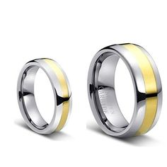 His & Her's 8MM/6MM Tungsten Carbide Duo Tone Domed Golt Plated Center Wedding Band Ring Set, Men's, Size: Ladies Size 8.5 - Mens Size 7, cobalt