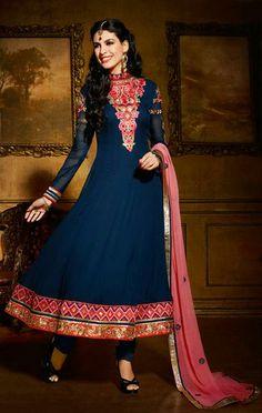 USD 88.65 Blue Georgette Anarkali Salwar Style Suit 30360