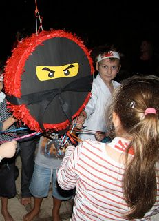 Mini Ink Photo Cards for Kids: Ninja party store bought pinata add paper and eyes and a belt