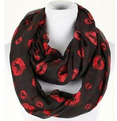 *Muah*! Kiss Print Black Infinity Scarf. The red kisses are so cute! This would be great to pair with so many different outfits. #scottsmarketplace