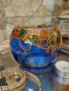 Glass Candle holder/ tea light/ vase. Blue.