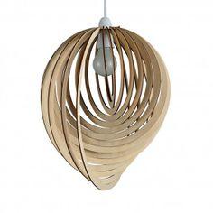 Vintage Wooden Tear Drop Pendant Shade with Spiral Design