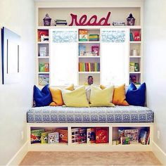 Kids Room closet conversion  Scandinavian Inspired: If you don't need the closet, why not turn it into a reading nook? You can still get the same amount of storage by putting drawers or shelves underneath the seat. (via The Lettered Cottage)