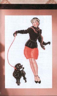 0 point de croix femme promenant son caniche - cross stitch lady walking her poodle