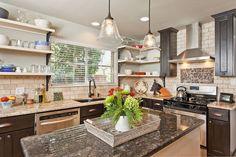 kitchen with open shelving, home decor, kitchen design, shelving ideas