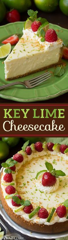 Key Lime Cheesecake - the perfect summer cheesecake! This is TO DIE FOR! Key Lime Cheesecake - the perfect summer cheesecake! This is TO DIE FOR! Summer Cheesecake, Key Lime Cheesecake, Homemade Cheesecake, Keylime Cheesecake Recipe, Easy Cheesecake Recipes, Cheesecake Cupcakes, Raspberry Cheesecake, No Bake Desserts, Just Desserts