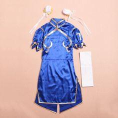 Chun Li Azul Vestido Anime Street Fighter Lolita cosplay fantasia meninas Vestido