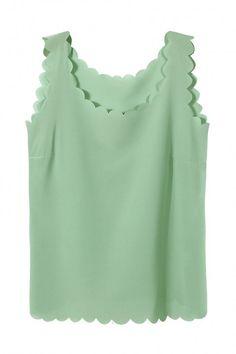 Light Green Chiffon Vest with Scallop Hem - US$9.95 -YOINS