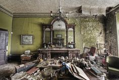 Old abandonned manor house.......they just walked away, leaving their treasures behind.......