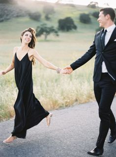 Formal blacks against a natural background. Long and flowy on her, trim and fitted on him. Styling by Grey Likes, Photographer Jen Huang Santa Ynez Wedding Engagement Shoot Photography