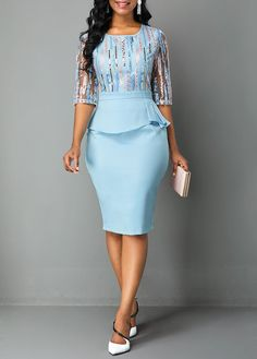 Cocktail Party Dress Peplum Waist Back Slit Embroidered Dress Lace Dress Styles, African Lace Dresses, Latest African Fashion Dresses, Women's Fashion Dresses, Dress Outfits, Latest Fashion, Modest Dresses, Pretty Dresses, Casual Dresses