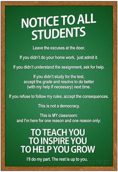 Notice to all Students Classroom Rules Poster Poster