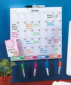 Color-Coded Dry Erase Calendar Set you should keep this at home. each kid gets a diffrent color marker. School Organization, Storage Organization, Family Calendar Organization, Magnetic Dry Erase Calendar, Family Command Center, Command Centers, Lakeside Collection, Family Organizer, Kitchen On A Budget