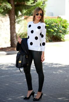Style Sessions Fashion Link Up – Leather Pants and Polka Dots
