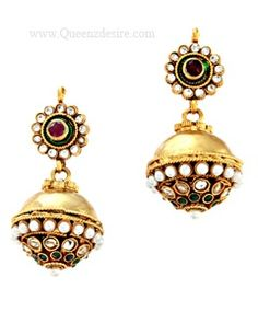 Polki Earring  [QDPER05]  Price:  $34.56  Match these jhumka style Polki earrings with your traditional attire