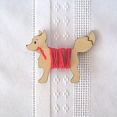 Freddy the Fox Embroidery Floss Holder by gigglesnortsociety, $8.00
