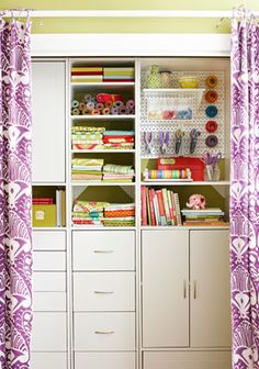 Hide storage behind pretty fabric curtains