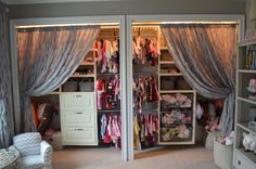 Curtains instead of closet doors. Nursery organization.