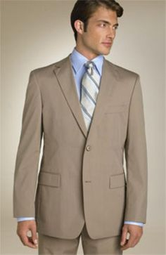 Product# QPA606 Classic Business Dark Tan khaki Color ~ Beige~Coffe~Mocca 2 Button Style 100% Wool Fabric