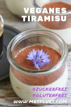 Veganes Tiramisu Dessert zuckerfrei & glutenfrei Mrs Flury Tiramisu Dessert, Vegan Tiramisu, Roh Vegan, Raw Cake, Vegan Sugar, Low Carb Desserts, Vegan Recipes, Vegan Food, Sugar Free