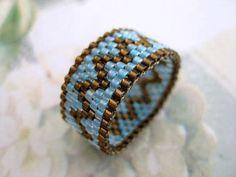 Peyote anillo plata forrado marrón y azul cielo abalorios semilla del grano Delica - talla 8