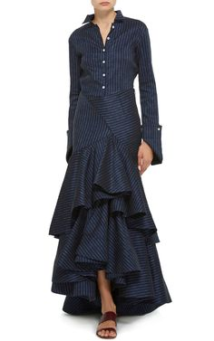 Click Product to Zoom Rosie Assoulin Pinstriped Linen Layered Ruffled Skirt $2,595$1,817