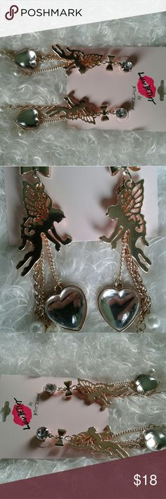 Betsey Johnson Fairy Earrings This Betsey Johnson earrings are fun. Please see photo comparing it to the size of a quarter.   Feel free to message me for exact measurements. Betsey Johnson Jewelry Earrings