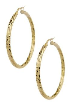 14K Gold Twisted Hoop Earrings by Royal Chain Group on @HauteLook