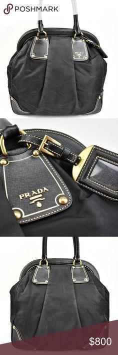 c17050d061b PRADA Black, Saffiano Leather & Nylon Tote (nm) pre-owned (