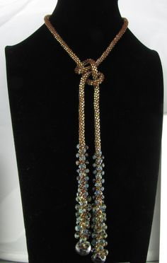 Gold and Blue Kumihimo Lariat by Luckysammy on Etsy, $200.00