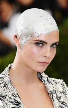 All the Details on Cara Delevingne's Silver-Painted Head at the Met Gala 2017 | Allure