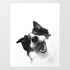 Black and White Happy Dog Art Print