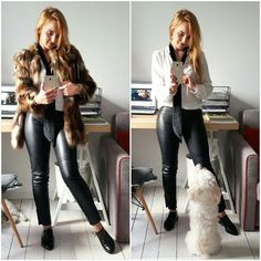 Faux fur and leather pants