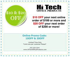 $10 & $20 OFF your next Office Supply order! #Coupon