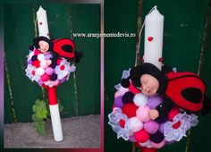 Lumanare botez gargarita, lumanare botez buburuza www.aranjamentedevis.ro Decorative Candles, Candles