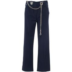 Miaou Tommy Pinstripe Straight Leg Pant with Chain Belt ($375) ❤ liked on Polyvore featuring pants, bottoms, clothing /, kirna zabete, pinstriped pants, blue pinstripe pants, straight leg trousers, blue cotton pants and eyelet pants