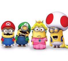 The Super Minions Bros.for a minute the minions dressed up like Mario and luigi looked like the real bros Minion Rock, Cute Minions, Minions Despicable Me, Minions 2014, Minion Meme, Minion 2, Minion Party, Super Mario World, Super Mario Bros