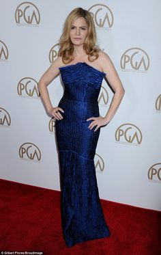 Jennifer Jason Leigh stuns in blue at the Producers Guild Awards #dailymail